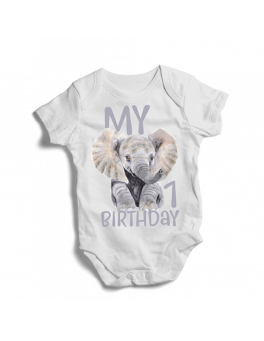 My 1st birthday elephant, baby bodysuit