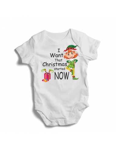 I want that Christmas started now, baby bodysuit