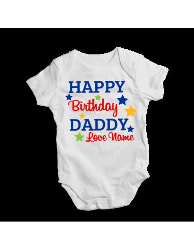 Happy birthday daddy, personalised baby bodysuit