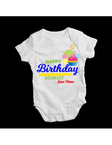 Happy birthday mummy, personalized baby bodysuit