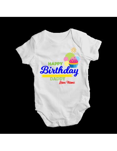 Happy birthday daddy, personalized baby bodysuit