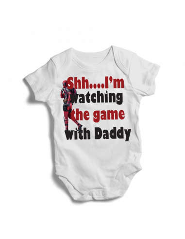 SHH, I'm watching the game with dad, Deadpool baby bodysuit