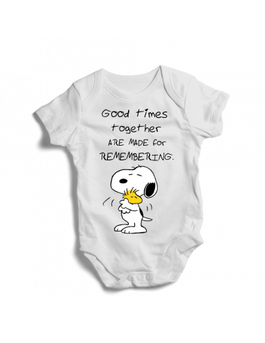 Good times together are made for remembering Snoopy, baby bodysuit