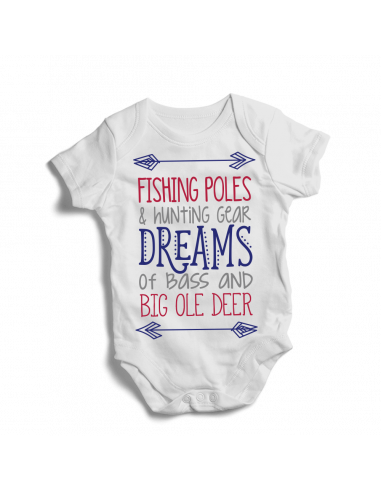 Fishing poles & hunting gear dreams... Baby bodysuit