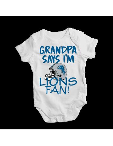 Grandpa say I'm LIONS fan! Baby bodysuit