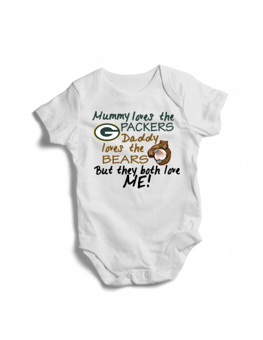 Mummy loves Packers, daddy loves Bears, football baby onesie