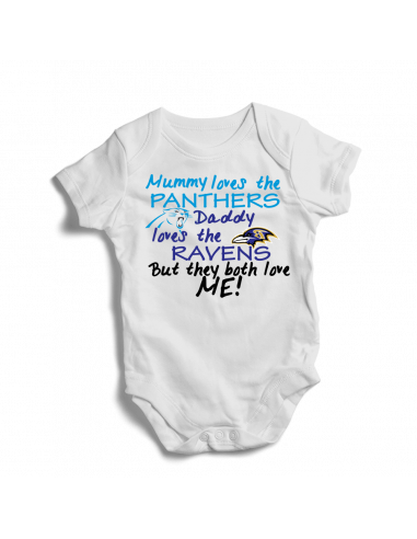 Mummy loves Panthers, daddy loves Ravens, football baby onesie