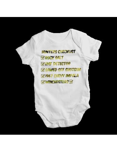 Hunters chekslist, baby bodysuit