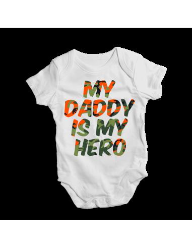 My daddy is my hero, baby bodysuit