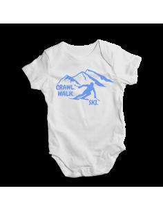 Crawl. Walk. Ski. Blue design, baby bodysuit
