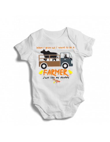 When I grow up, I want to be a farmer, just like daddy, baby bodysuit