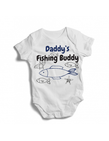 Daddy's fishing buddy, little fisher baby bodysuit