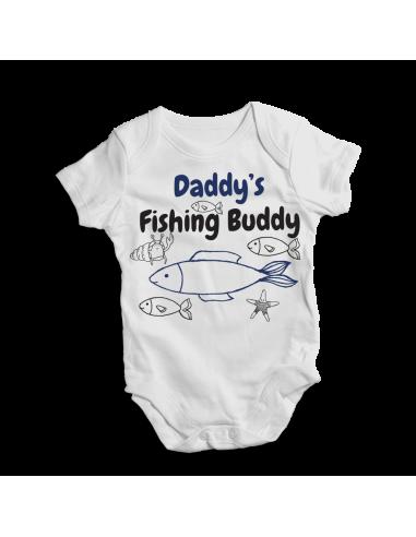 Daddy's fishing buddy, little fisher baby bodysuit