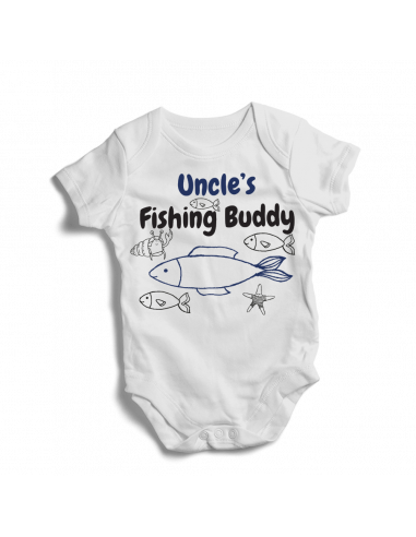 Uncle's fishing buddy, little fisher baby bodysuit