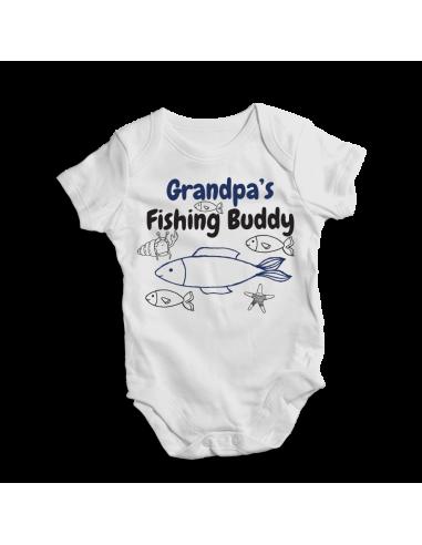 Grandpa's fishing buddy, little fisher baby bodysuit